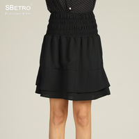 SBetro By Suzanne Betro Ladies Party Skirts Ruffle Tier Short Solid Black A line Plus size XXXL Summer Women's Mini Skirt Female
