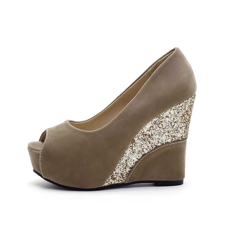 KARINLUNA marka ayakkabı büyük boy 33-43 en kaliteli pompaları kadın ayakkabı seksi kama yüksek topuklu peep toe gelin düğün ayakkabı kadın