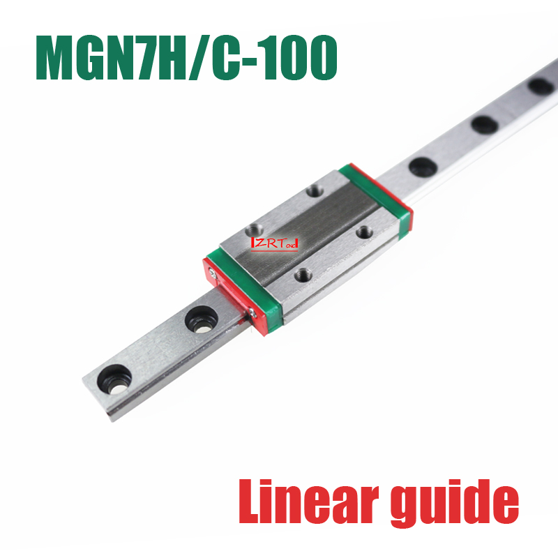 3D part 7mm linear rail guide MGN7 length 100mm with mini MGN7H / C linear block carriage miniature linear motion guide way cnc part mr7 7mm linear rail guide mgn7 length 600mm with mini mgn7c linear block carriage miniature linear motion guide way