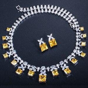 Image 5 - CWWZircons Gorgeous księżniczka Cut żółta cyrkonia kamień kobiety Wedding Party kostium naszyjnik zestawy biżuterii dla panien młodych T351