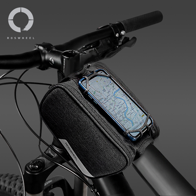 Waterproof Cycling Bike Bicycle Frame Pannier Phone Holder Case Bag Double Pouch