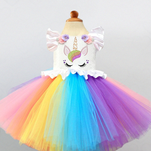 a92ef1631497 Girls Colorful Unicorn Dress For Wedding Flower Princess Costume Fancy  Party Rainbow Tutu Cartoon Clothes For Baby Girl 3 4 5T