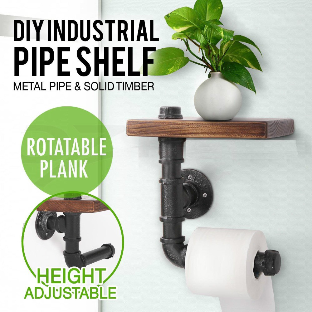 Industrial Style Wall Mounted Wood Storage Shelf Iron Pipe Toilet Paper Holder Roller Restaurant Restroom Bathroom Decor