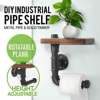 Industrial Style Wall Mounted Wood Storage Shelf Iron Pipe Toilet Paper Holder Roller Restaurant Restroom Bathroom Decor Туалет