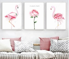 Nordic Poster Pink Flamingo Rose Wall Art Canvas P