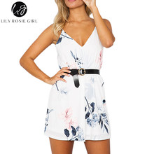 Lily Rosie Girl White Floral Elegant Boho Women Dress Strap Off Shoulder Sexy Summer Beach Party Girl Mini Dresses Vestidos(China)