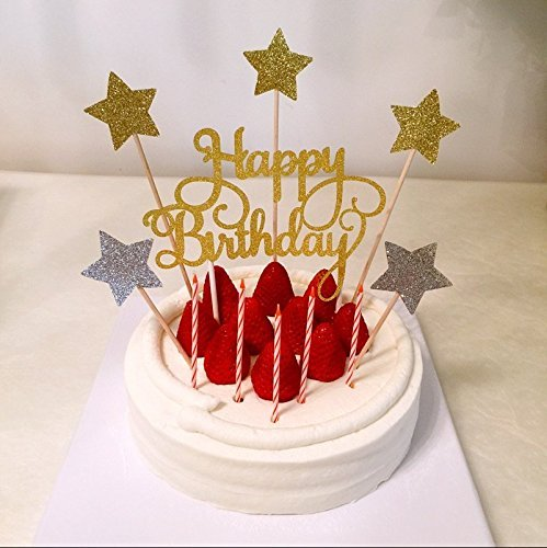 Gold Silver Glitter Happy Birthday Cake Topper Decor Calligraphy Topper Birthday Cake Topper Party Supplies in Party DIY Decorations from Home Garden