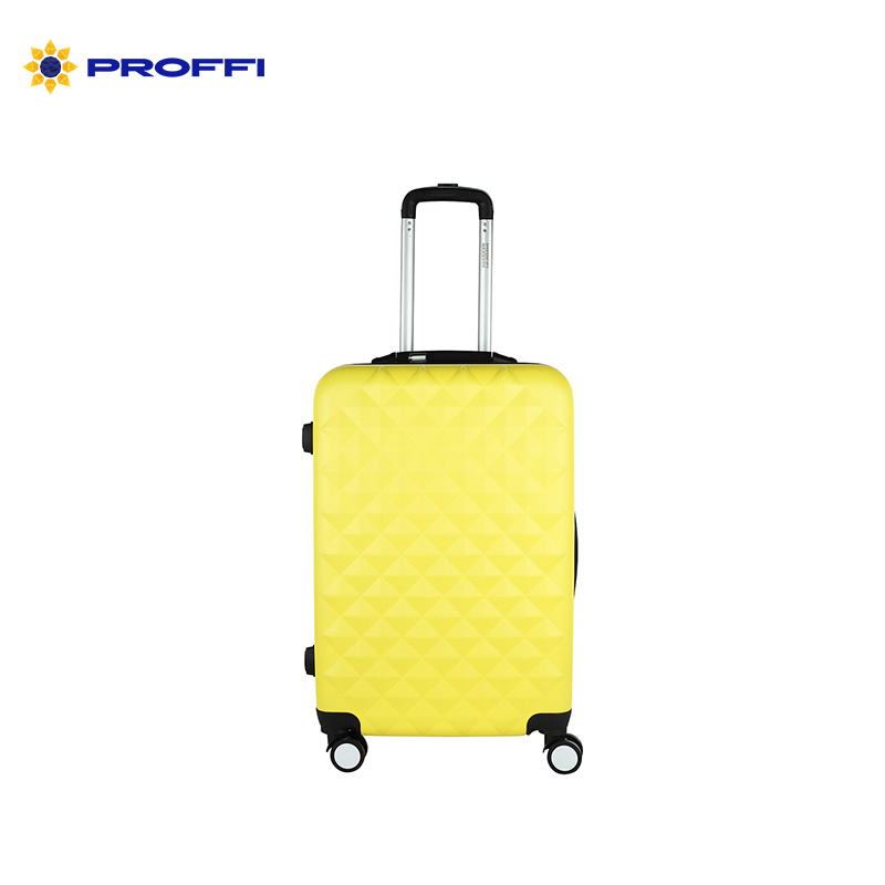Bright yellow PROFFI TRAVEL PH8645yellow M, plastic suitcase, with built-in scales, medium combination lock on wheels
