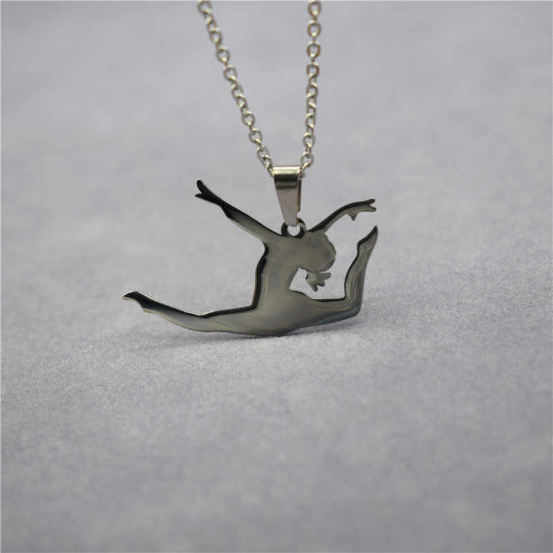 New Do the Splits Necklace Trendy Stainless Steel Gymnastic Pendant Necklace Gymnastic Jewellery Dancing Jewellery