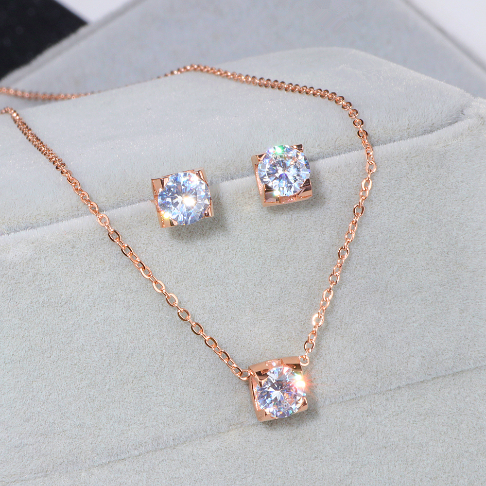 Luxury Crystal Wedding Jewelry Sets Rose Gold-Color 316L Stainless Steel Necklaces Stud Earrings Jewelry Sets for Women WX080