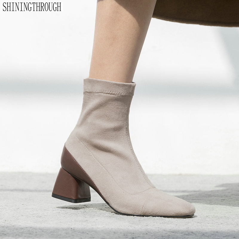 Cow leather women high heels ankle boots ladies shoes woman square toe spring autumn mather boots black heels ladies platform shoes woman spring autumn punk boots chunky high heels pumps women ankle boots for women heels y782