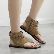 2019 New Gladiator Women Sandals Rome Sandals Flat Sandals Khaki/Black Summer Female Shoes Casual Lady Shoes Woman Footwear