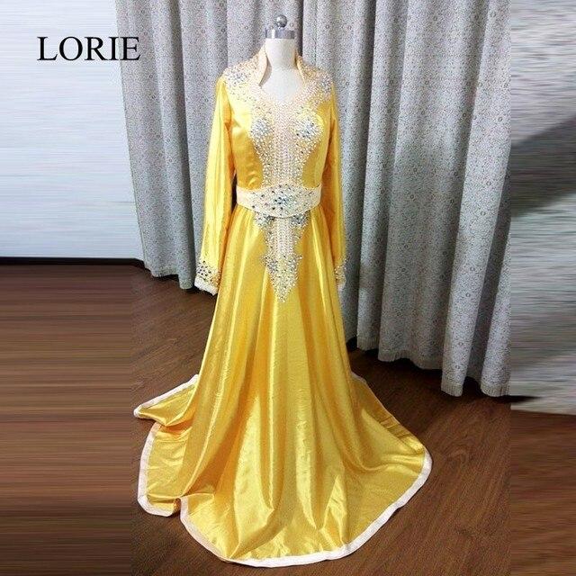 Muslim Gold Evening Dresses 2017 LORIE Beaded Formal Party Gowns Dubai  Caftan Long Sleeve Prom Dresses China Custom Made f6785cc12d0b