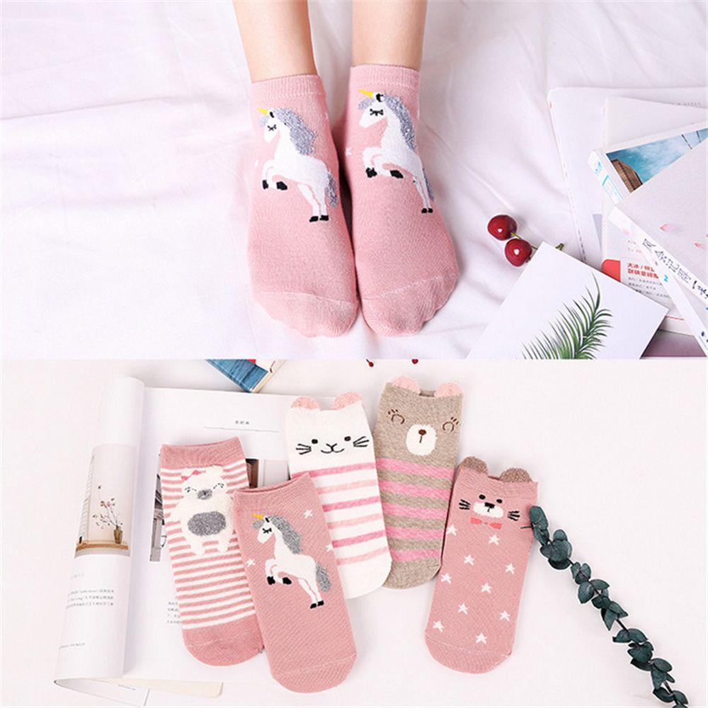 5 Pairs/pack Woman Cotton Socks Cute Girls 3D Ear Soft Cartoon Animal Pattern Mixed Socks Set Autumn Spring Soft Socks
