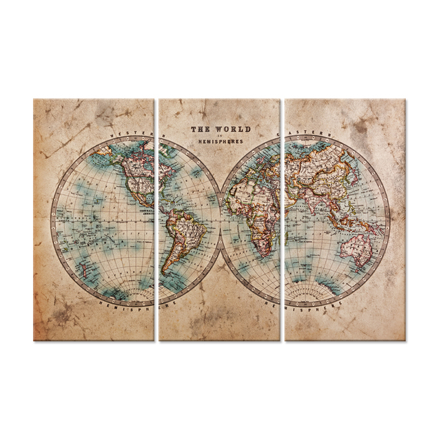 Canvas Print Wall Art Vintage World Map In Two Hemispheres The Pictures Oil Painting On