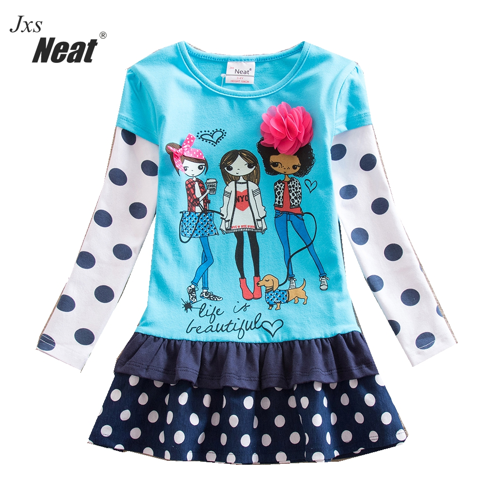 Girl dress Fashion Baby girl clothes kids Long sleeves dresses for girls 100% cotton Flower Dress Princess party dress LH6495 girl dress 2 7y baby girl clothes summer cotton flower tutu princess kids dresses for girls vestido infantil kid clothes