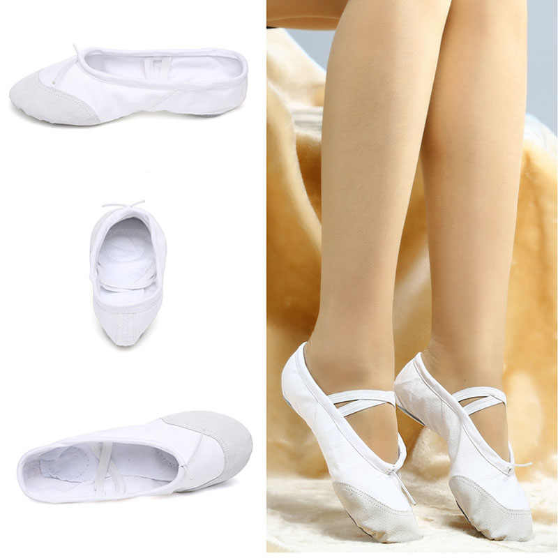... USHINE Professional White Yoga Slippers Indoor Exercising Canvas Ballet  Dance Shoes For Girls Kids Children Women fefb718c2397