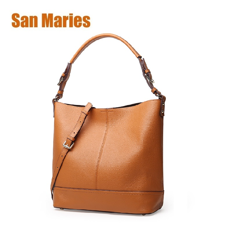 San Maries Vintage Genuine Leather Bags for Women Crossbody Woman Shoulder Casual Tote Leather Bags Channels Handbags Totes Set