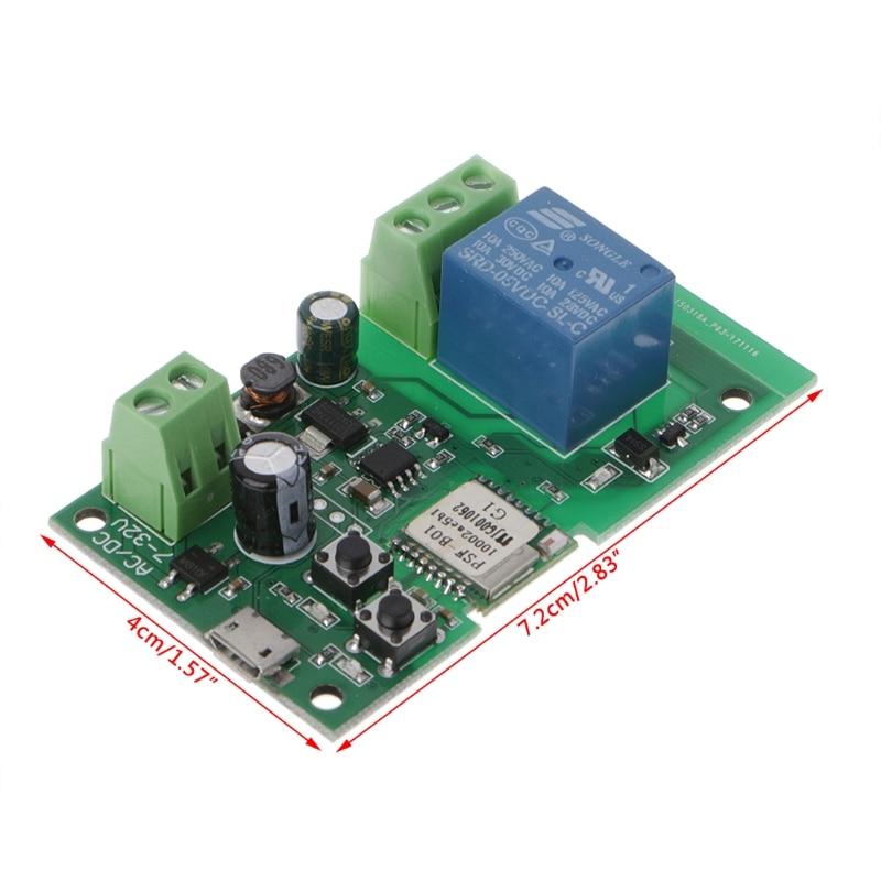 OOTDTY High Quality DC 5V-32V Jog Self-lock Smart WiFi Wireless Switch Relay Module APP Control