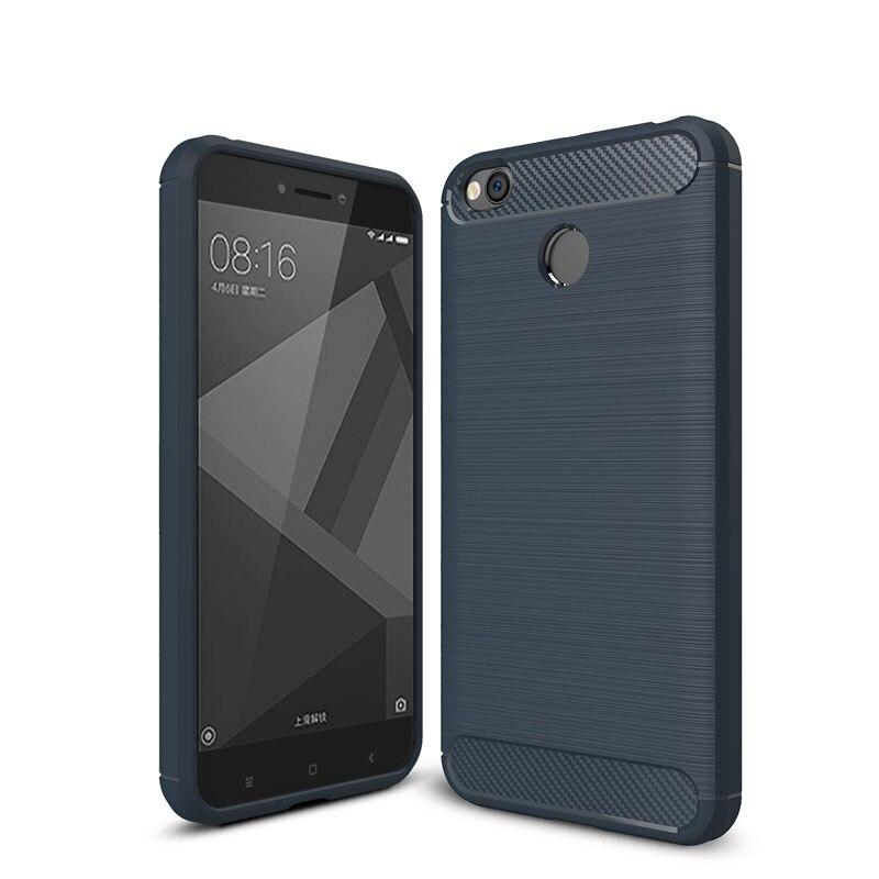 For Xiaomi Redmi 4X Case Bumper Anti-knock Soft TPU Silicon Cover Carbon Fiber Armor Case Cover For Xiaomi Redmi 4X Pro