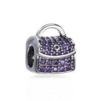 Аутентичные 925 стерлингового серебра мерцающий сумка-шоппер мешок руки фиолетовый CZ сундук с сокровищами Шарм бисера Fit Пандора браслет юве...