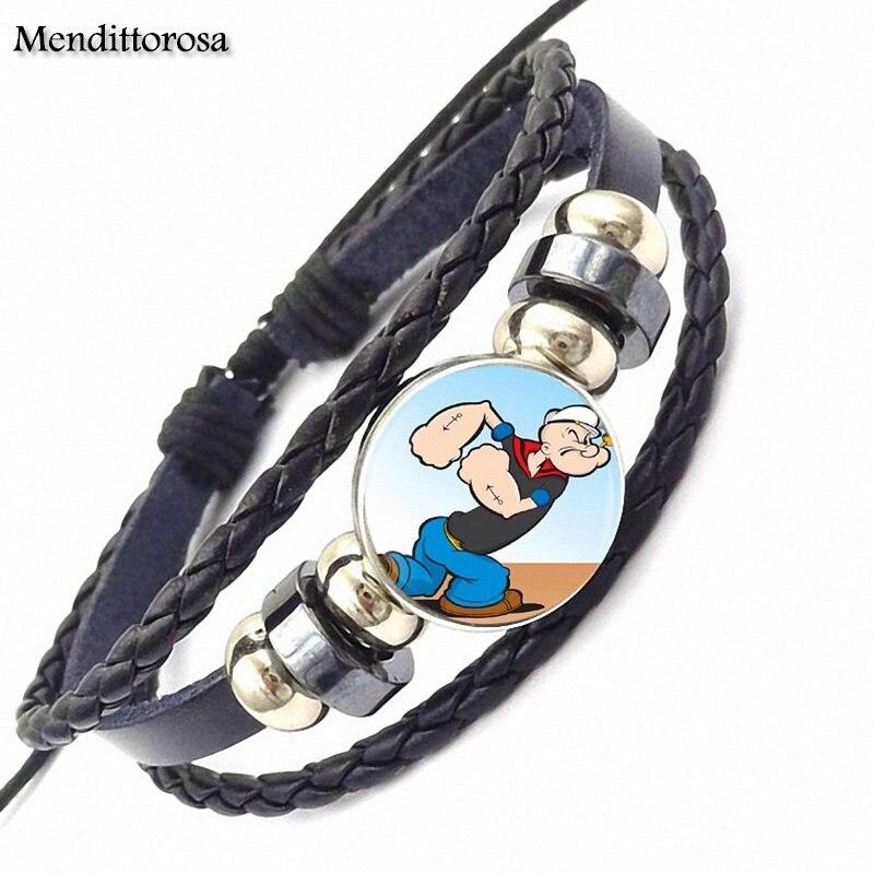 Mendittorosa For Kids Beads Vintage Jewelry With Black Leather Bracelet Bangle Popeye
