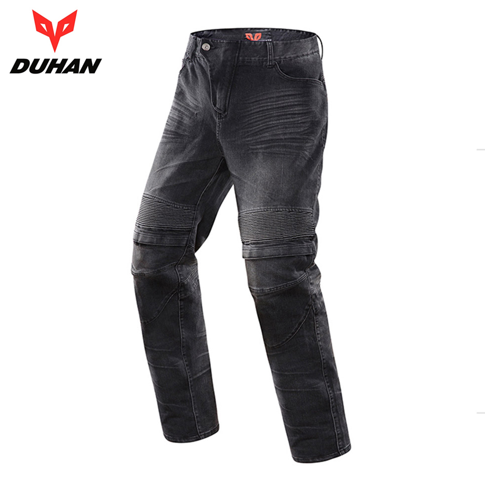 DUHAN Men's Motorcycle Jeans Motorbike Riding Biker Trousers Denim Motorcycle Pants Men Moto Pants Knee Guards Protective Gear 50 52 big size fashion casual male denim pants biker jean hot sale trousers cotton classic straight jeans for man