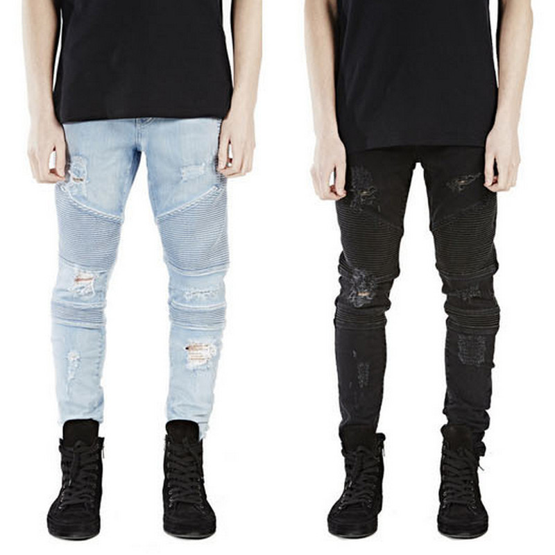 Mens Skinny Jeans Men Slim Fit Pleated Punk Biker Ripped Denim Hip Hop Motorcycle Rock Rap Jeans Blue Black Pants Dropshipping mens skinny jeans men runway distressed slim elastic jeans denim biker jeans hip hop pants washed pleated jeans blue