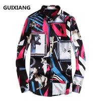 2018 Spring New Arrival Silk Men Shirt Mens Business Casual Shirts Men Brand Clothing Printing Long