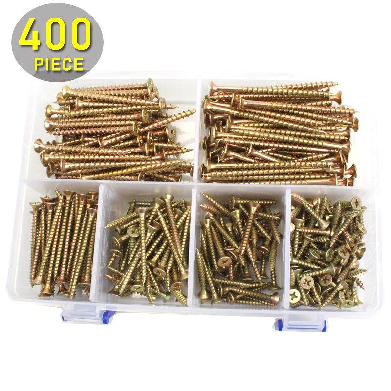 400pcs M4 Flat Head Exterior Wood Screws Assortment Kit 20-70mm Length