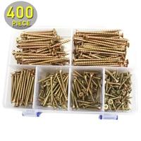 400pcs M4 Flat Head Exterior Wood Screws Assortment Kit 20 70mm Length