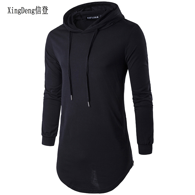 XingDeng Men's Autumn Long Sleeve Punk Shirts Europe Street Hoodie Fashion Men Hip Hop Hooded Streetwear Tee Shirt Top Clothes
