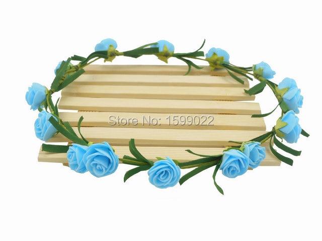 6 teile/los Einfache PE Rose Blumen Stirnbänder für Frauen Blume Reif Blau Hochzeit Dekoration Chanukka-schmucksachen-blau Haus Erwärmung Partei Liefert