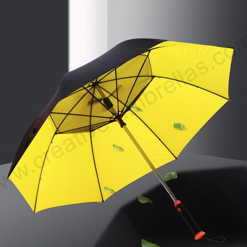 Colour coating 5 times strong anti-uv Anti-thunder fiberglass electricity battery vs USB charge fan golf umbrella image
