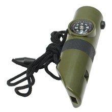 7 в 1 Военный Свисток для выживания в чрезвычайных ситуациях Комплект компас светодиодный свет термомет инструменты для кемпинга путешествия