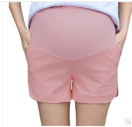 New Summer Elastic Waist Care Belly Maternity Shorts Cotton Linen Candy Color Pants For Pregnant Women Plus Size Shorts M-2XL