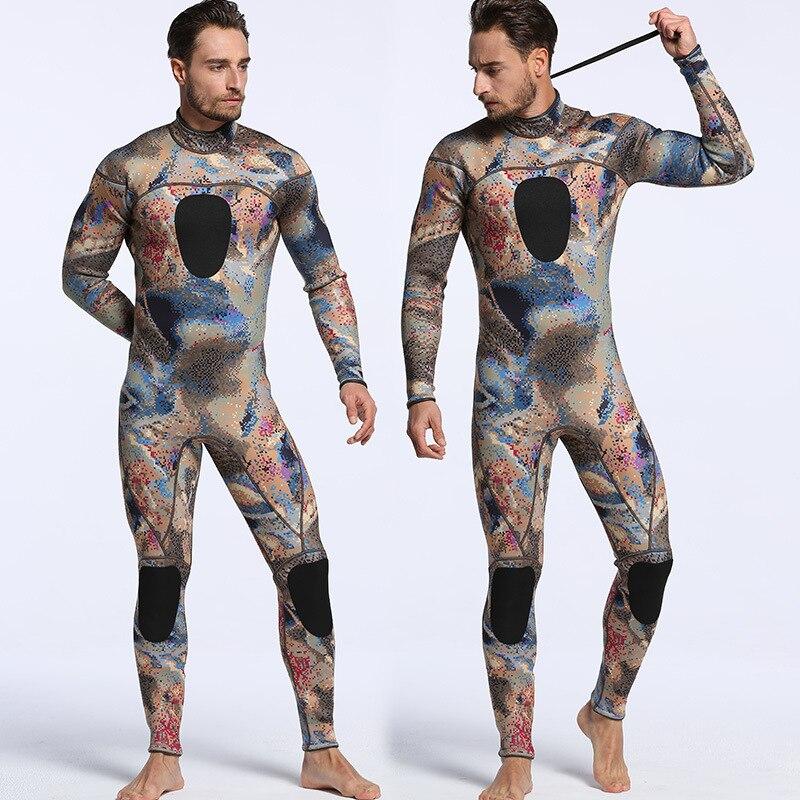 Men's New 3mm SCR Neoprene Camouflage Long Sleeve One-piece Diving Suit Warm Waterproof Surf Suit Size S-XXL цена