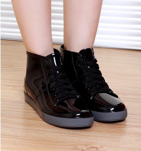 7fdf35c7bf0e autumn winter lace up plastic rubber pvc jelly high top ankle boots ...