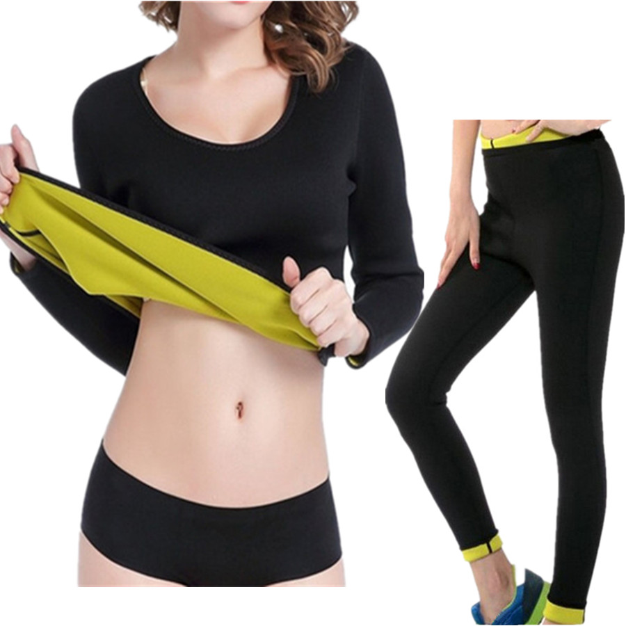 Body Shapers Neoprene Slimming Super Stretch Control Long Pants & Long Sleeve Tops Women's Waist Slimming Sweat Sauna Shaperwear