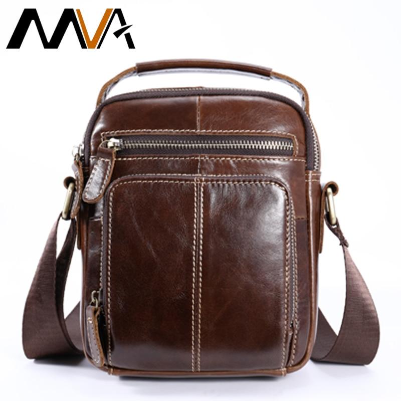 MVA Leather Messenger Bag Men's Shoulder Bags Genuine Leather Crossbody Bag for Men ipad flap Small Shoulder Handbags Male Bags цена 2017