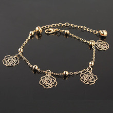2015 New Style Free Shipping 240mm Charming Women 18k Gold Plated Decorate Beads Beautiful Flower Anklet Chain Bracelet &Bangle