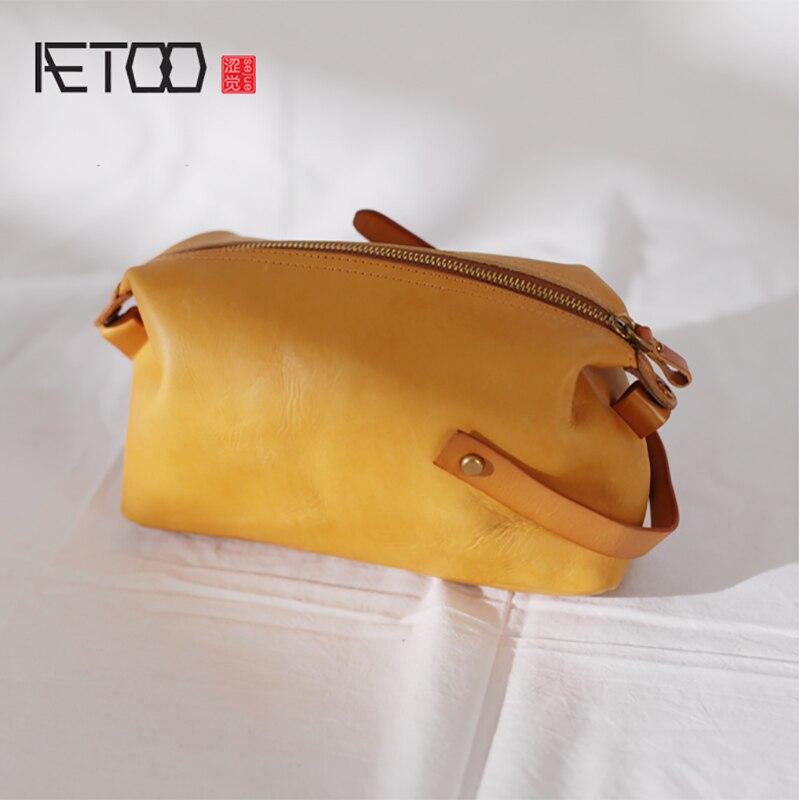 AETOO المرأة حقيبة ، صغيرة الرجعية الملمس لينة جلد خاص حقيبة ، بسيط الكتف حقيبة منحرف-في حقائب قصيرة من حقائب وأمتعة على  مجموعة 1