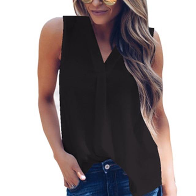 749b9c2d33a 2018 Chiffon Shirts Women Blouse Tops Elegant OL Style Casual Loose  Sleeveless Solid V-neck Summer Top Plus Size XXL Fashion