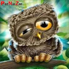 ParNarZar 5D DIY Diamond Painting Kits Lovely Owl Want To Sleep Full Drill Round for Home Wall Decorations