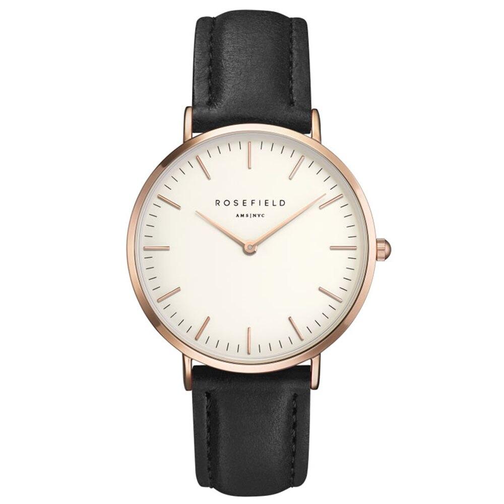 2018 ROSEFIELD Fashion and casual Dress Watch Women Quartz Leather round Wrist Watch Hot Style Vintage Men Watch
