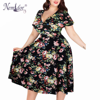 Women V-neck Short Sleeve 50s Party A-line Dress Vintage Stretchy Midi Plus Size 7XL 8XL 9XL