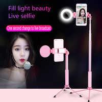 Travor 67 pulgadas 170cm Bluetooth Selfie Stick trípode con anillo luz Selfie belleza retrato relleno iluminación para iPhone XS 7plus