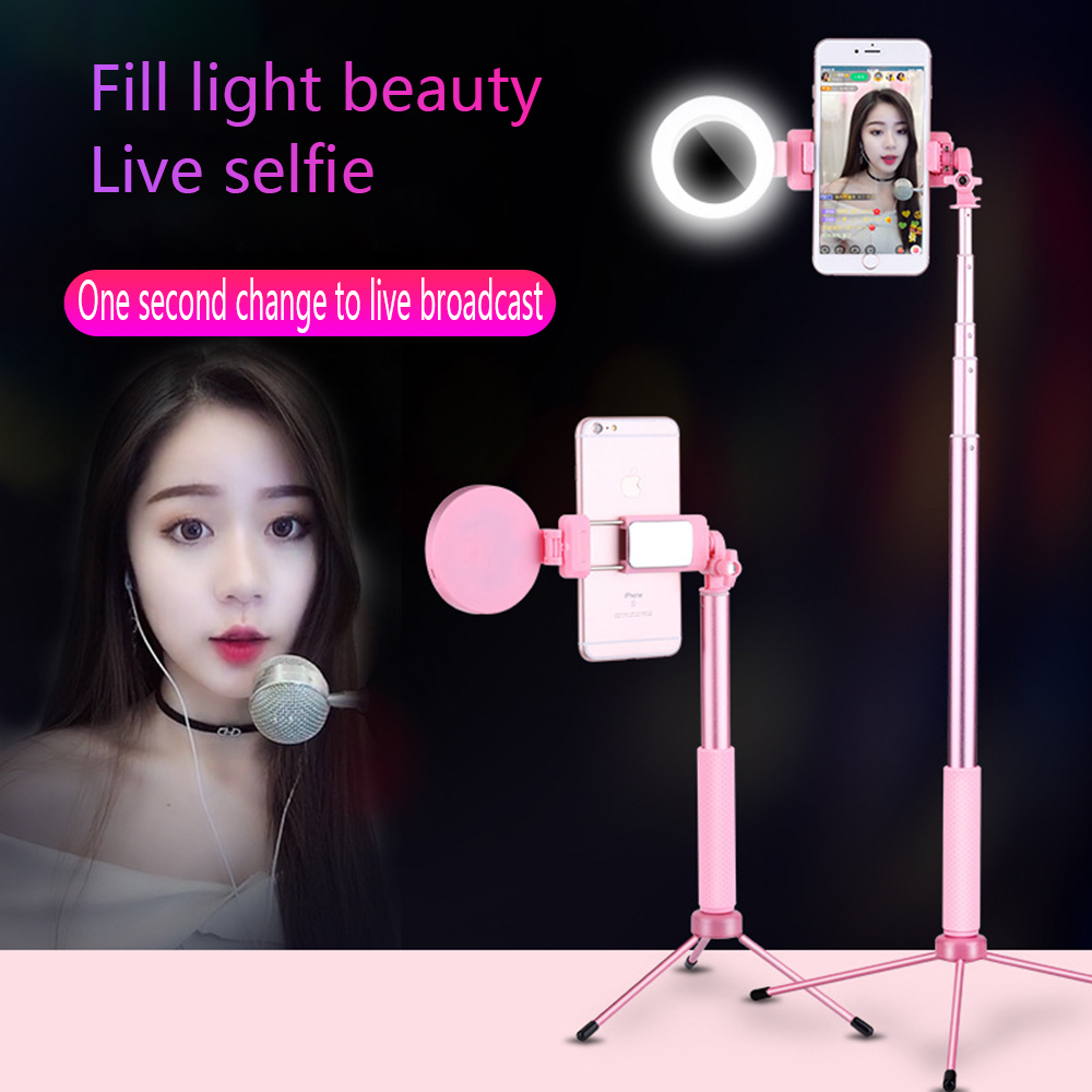 Travor 67inch 170cm Bluetooth Selfie Stick Tripod with Ring Light Selfie Beauty Portrait Fill Lighting for iPhone XS 7plus