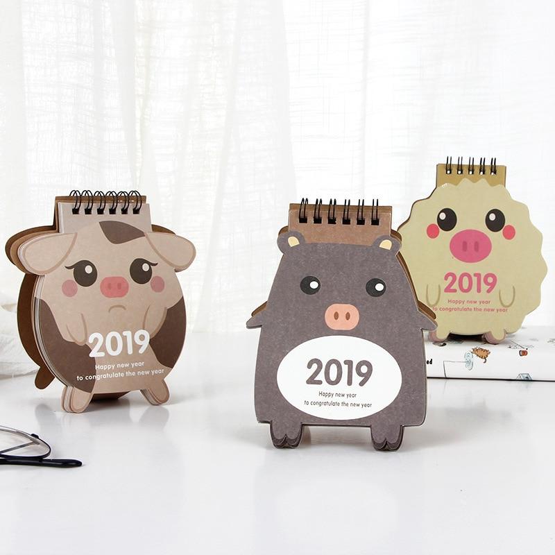 Office & School Supplies Vornehm 2018-2019 Kawaii Tiere Cartoon Schwein Mini Desktop Papier Kalender Täglichen Scheduler Tisch Planer Jährlich Agenda Organizer