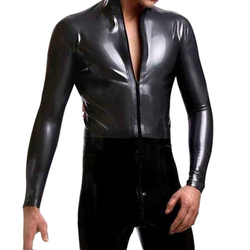 Mens Shiny Leather Catsuit Costume Jumpsuit Leotard Zipper Crotch Bodysuit Tops